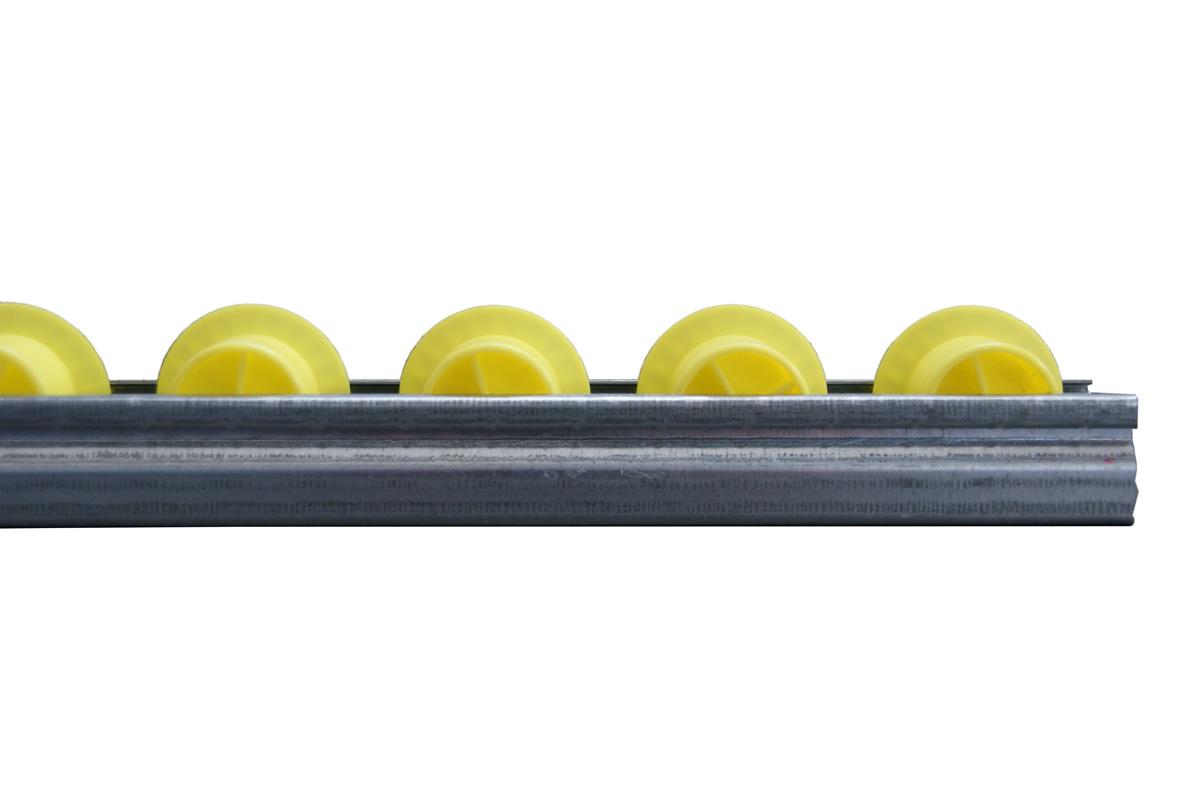 Seitenansicht Röllchenleiste mit Spurkranz-Kunststoffröllchen
