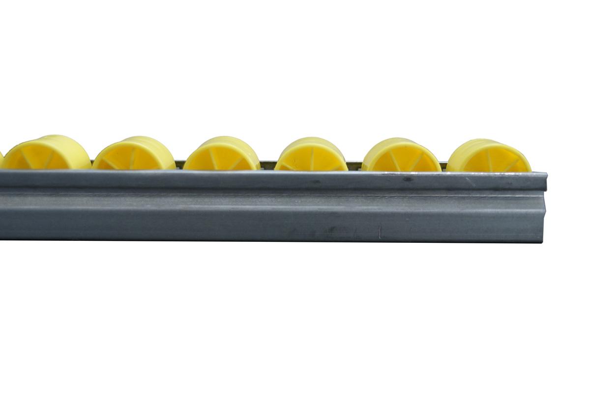 Seitenansicht Röllchenleiste mit zylindrischen Kunststoffröllchen
