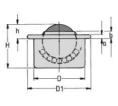 Zeichnung von Kugelrolle Stahl Blech mit gerader Abdeckung