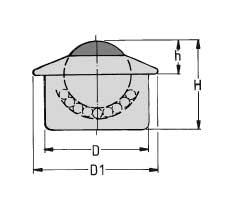 Zeichnung von Kugelrolle Stahl Blech mit schräger Abdeckung