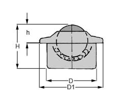 Zeichnung von Kugelrolle mit Bund Stahl-massiv 15 mm