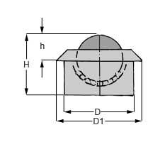 Zeichnung von Kugelrolle mit Bund Stahl-massiv