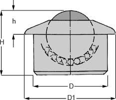 Zeichnung von Kugelrolle mit Bund Stahl-massiv 22, 30, 45, 60 mm