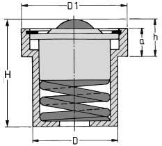 Zeichnung von Kugelrolle Stahl-massiv mit Feder und Bund