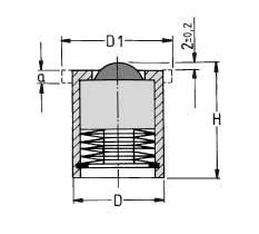 Zeichnung von Kugelrolle Stahl-massiv mit Feder, ohne Bund