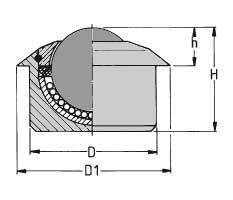 Zeichnung von Kugelrolle Stahl-massiv in Flughafenausführung